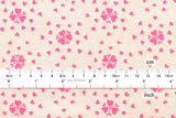 Cotton + Steel Yours Truly - heartburst - natural, neon pink - fat quarter