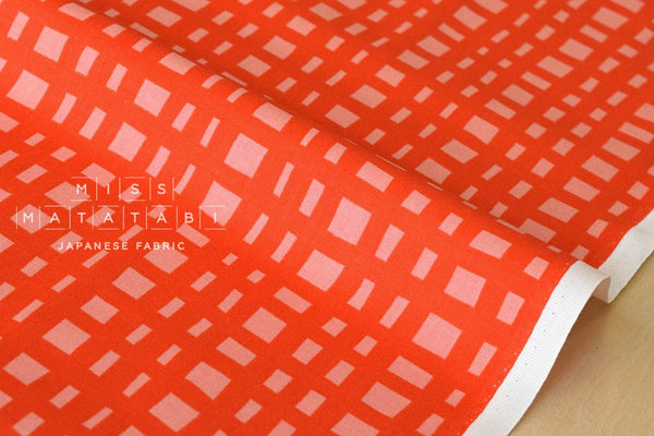 Cotton + Steel Yours Truly - going steady grid - flame - fat quarter