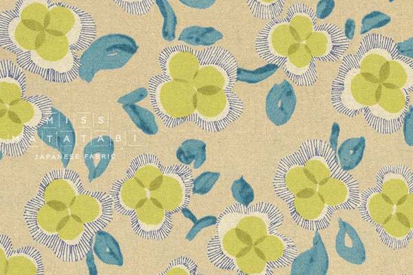 Watercolor flowers - chartreuse, teal