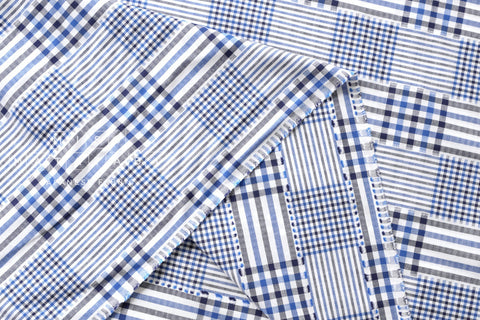 Yarn dyed check - blue, dark navy blue, white