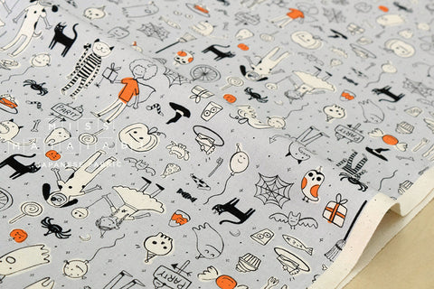 Cotton + Steel Lil' Monsters - party grey - fat quarter