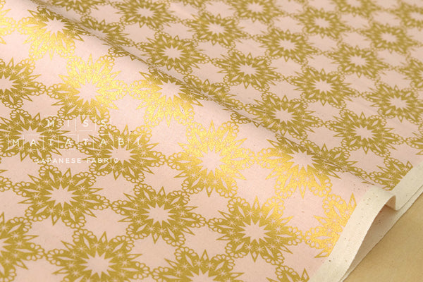 Cotton + Steel Noel - metallic gold flakes pink