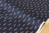 Cotton + Steel Noel - candy canes navy - fat quarter