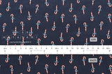 Cotton + Steel Noel - candy canes navy