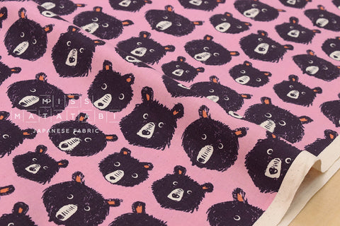 Cotton + Steel Black and White - Teddy and the bears - lilac - fat quarter
