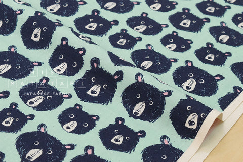 Cotton + Steel Black and White - Teddy and the bears - mint - fat quarter