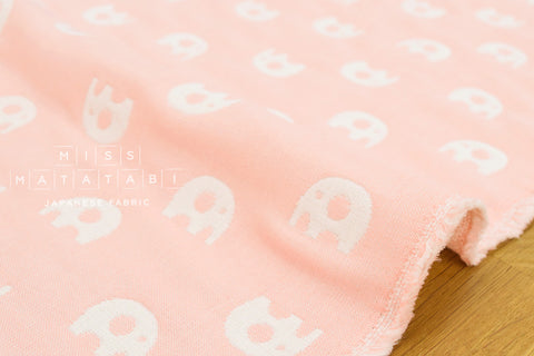 Fluffy 6-layer gauze - reversible elephants - pale pink