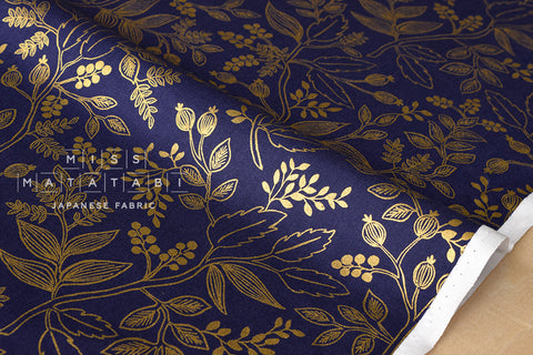 Cotton + Steel Les Fleurs - Queen Anne - navy metallic - fat quarter