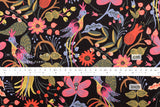 Cotton + Steel Les Fleurs canvas - folk birds - black