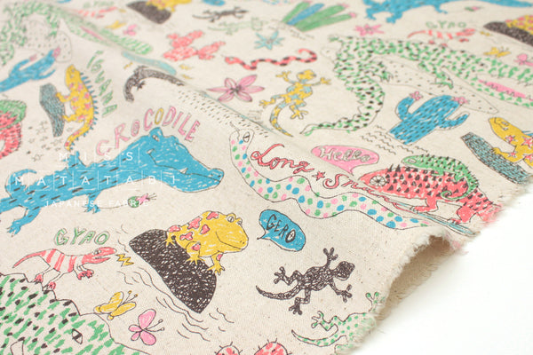 Kei Fabric Miyako Reptiles - natural - fat quarter