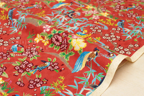 Japanese Fabric Tropical Japanese Island - red
