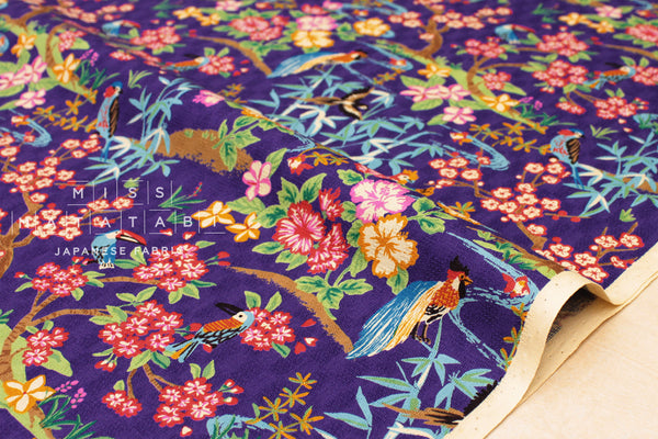 Japanese Fabric Tropical Japanese Island - purple
