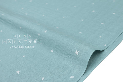 Kobayashi starry double gauze - blue, metallic silver