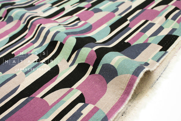Mountains - purple, mint, black - fat quarter