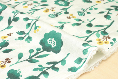 100% linen Watercolour Flora - green