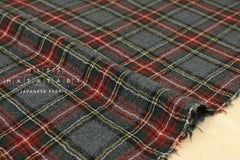 Wool Gauze - plaid - red, green, grey