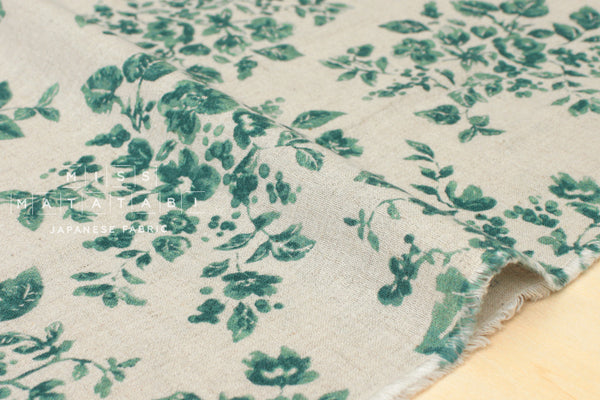 Linen voile floral - green