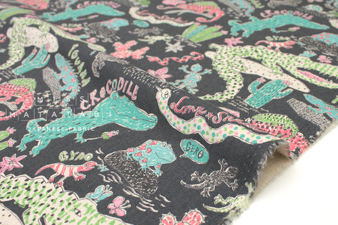 Kei Fabric Miyako Reptiles - grey - fat quarter