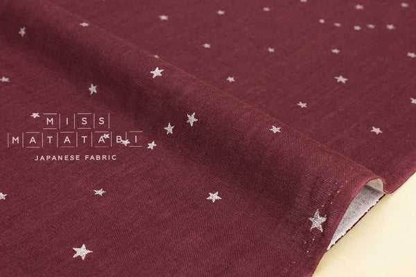 Kobayashi starry double gauze - wine, metallic silver
