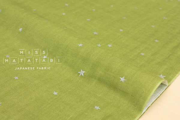 Kobayashi starry double gauze - green, metallic silver