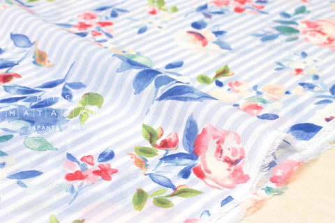 French Rose chiffon voile - light blue, pink