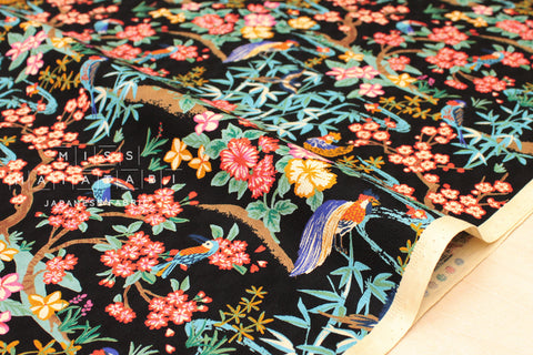 Japanese Fabric Tropical Japanese Island - black