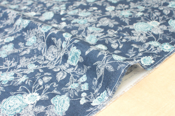 100% linen Wild Rose linen - denim blue