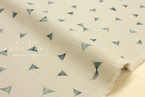 Kokka Kinari barkcloth - forest green, latte