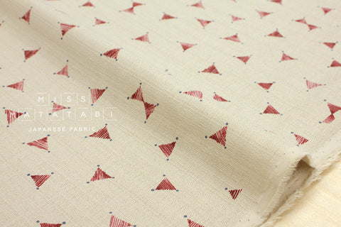 Kokka Kinari barkcloth - red, latte