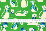 Cotton + Steel Beauty Shop - fancy cats - green