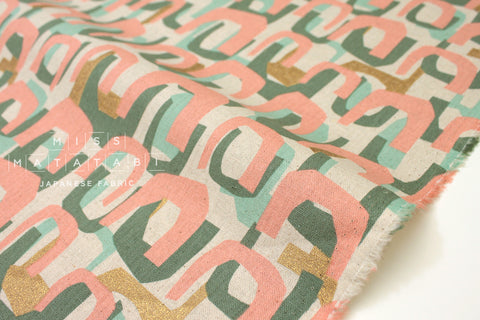 Arches - peach, mint, metallic gold - fat quarter