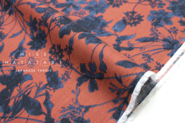 Brushed rayon twill foliage - navy, rust