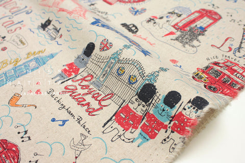 Kei Fabric Miyako London Cats - natural, red, blue - fat quarter