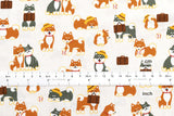 Japanese Fabric - shiba inu friends - cream