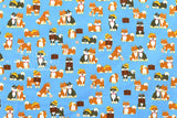Japanese Fabric - shiba inu friends - blue