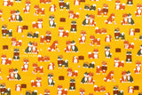 Japanese Fabric - shiba inu friends - mustard yellow
