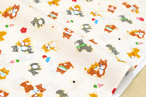 Japanese Fabric - shiba inu family - cream