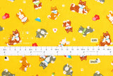 Japanese Fabric - shiba inu family - yellow
