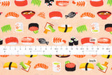 Japanese Fabric - sushi - peach