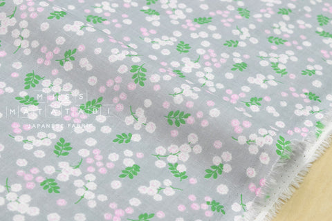 Double gauze mimosa flowers - grey, pink, green