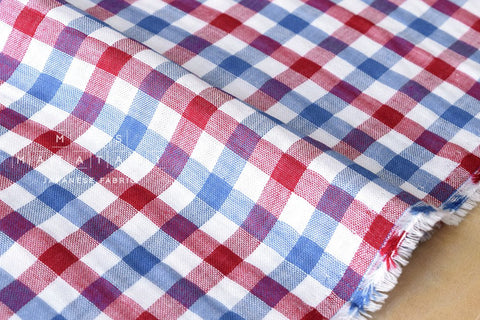 Yarn dyed double gauze - gingham check - red, blue, white