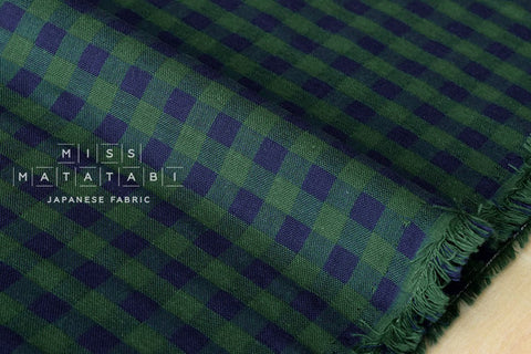 Yarn dyed double gauze - gingham check - green, navy