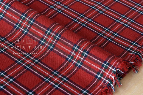 Yarn dyed double gauze - tartan - red, navy