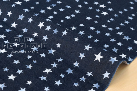 Watercolor stars double gauze - indigo blue