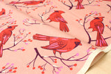 Cotton + Steel Frost - winter cardinals - pink