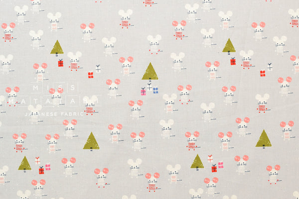 Cotton Sold by the Half-Yard and cut Continuous Steel Frost Little Friends Natural Unbleached Cotton Fabric