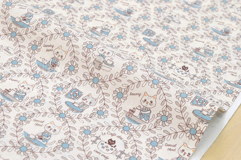 Yuwa Cotorienne Neko Cafe - cream, blue - fat quarter