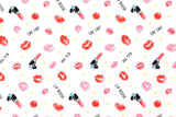 Chu Chu Kiss You - cream, pink - fat quarter