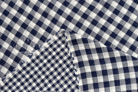 Yarn dyed double gauze gingham - navy blue