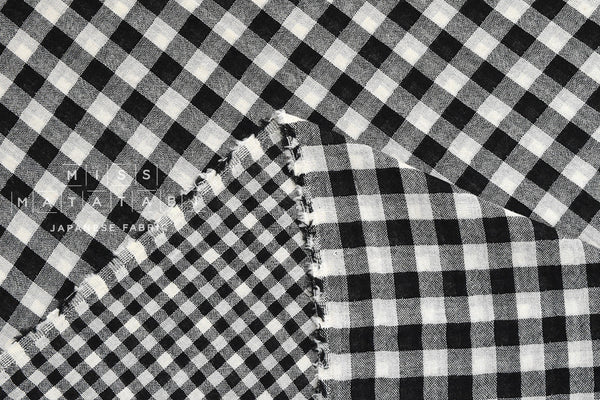 Yarn dyed double gauze gingham - black